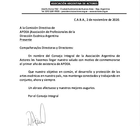 Gracias Asociación Argentina de Actores