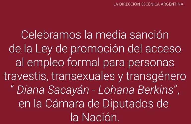 """Ley """"Diana Sacayán – Lohana Berkins"""""""