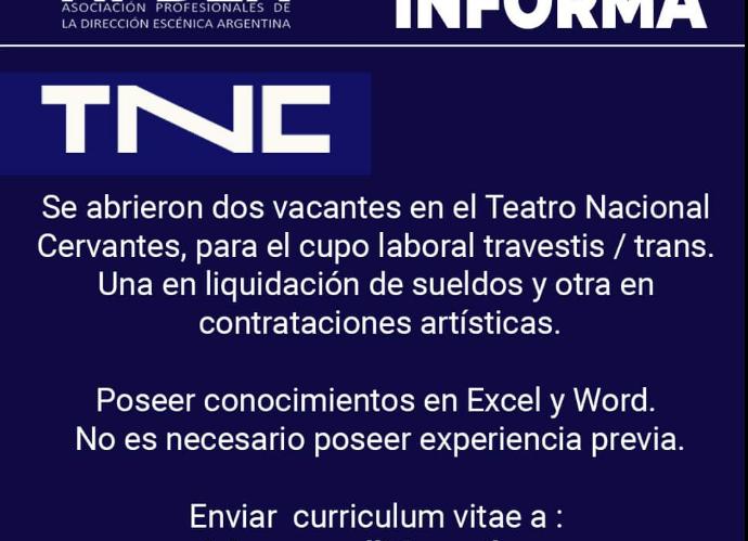 Apdea Informa: Vacantes en el TNC